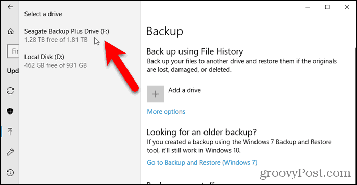 Select a drive in File History