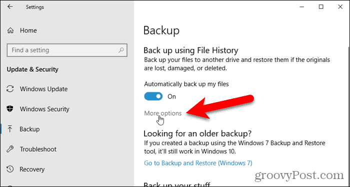 Click More Options on the Backup screen