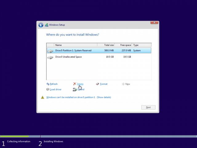 06 Delete Existing System Partition Windows 10 Clean Install