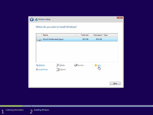 07 Create New Partition from Unallocated Space 5 Windows 10 Clean Install