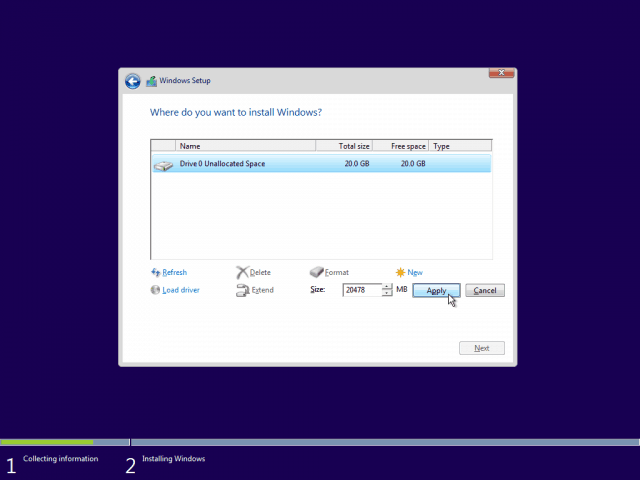 08 Use Maximum Available Space Windows 10 Clean Install