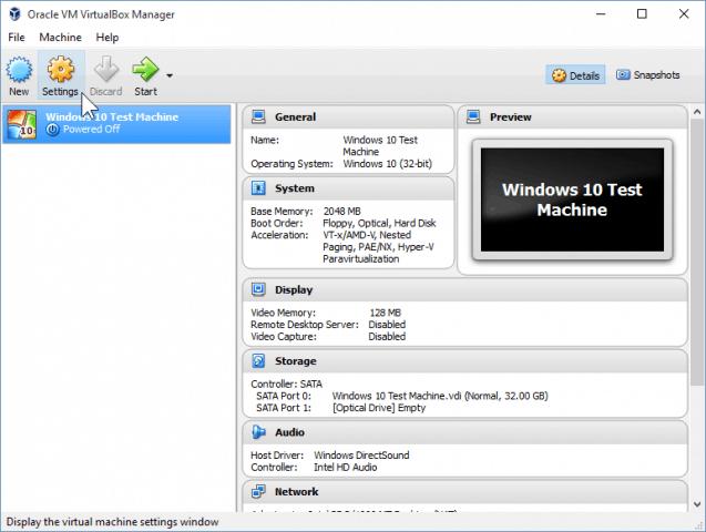 09 Opening VirtualBox Settings (Windows 10 Install)