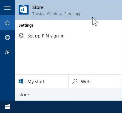1 Opening Windows 10 Store