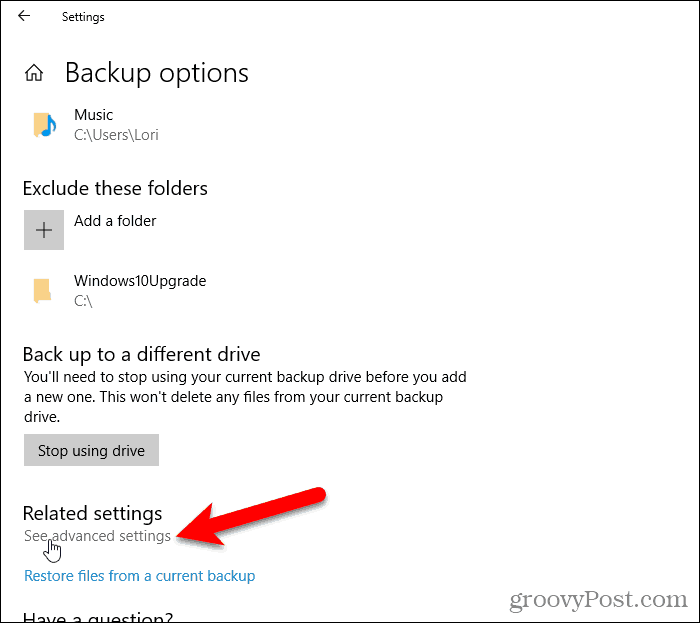 Click See advanced settings on the Backup options screen