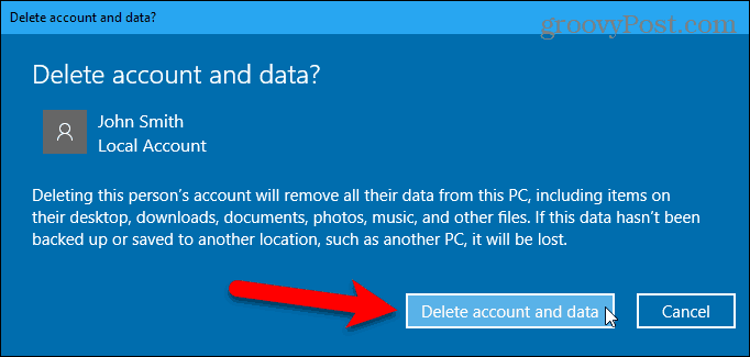 Delete account and data dialog box