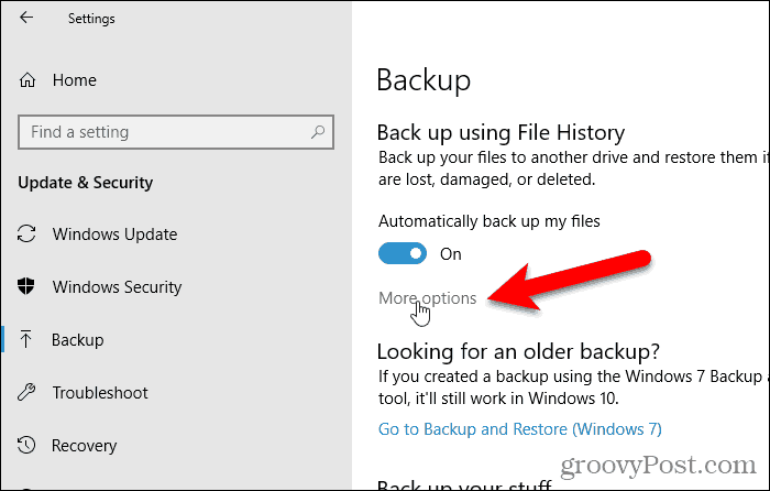 Click More options for restoring a file