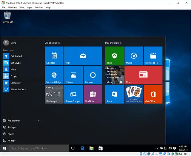 14 Windows 10 in VirtualBox