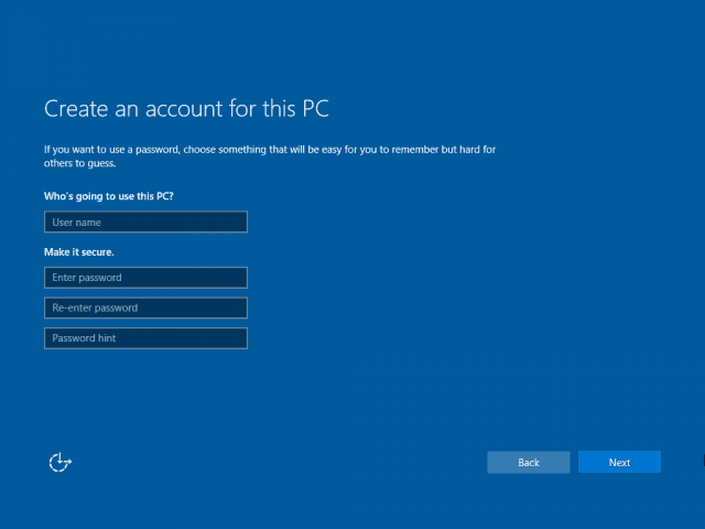 15 New Account Screen Windows 10 Clean Install