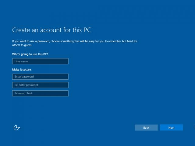 15 New Account Screen Windows 10 Clean Install