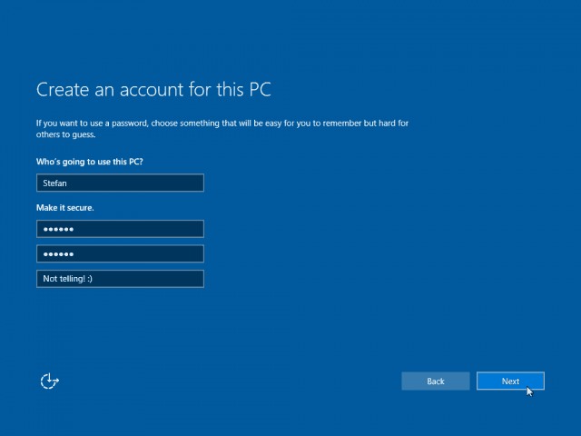 16 New Account Screen Filled Windows 10 Clean Install