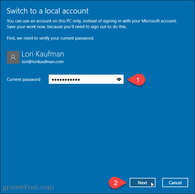 Switch to a local account dialog box