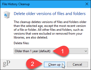 File History Cleanup dialog box
