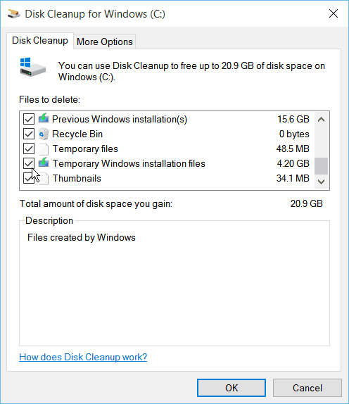 Disk Cleanup Windows 10