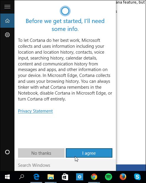 Agree Cortana terms