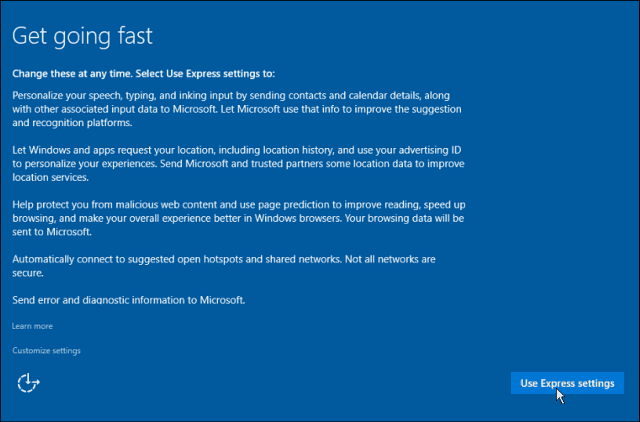 Express Settings Windows 10