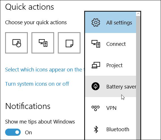 choose quick action tile