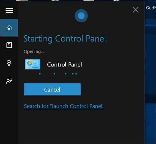 Windows 10 Cortana Open control panel