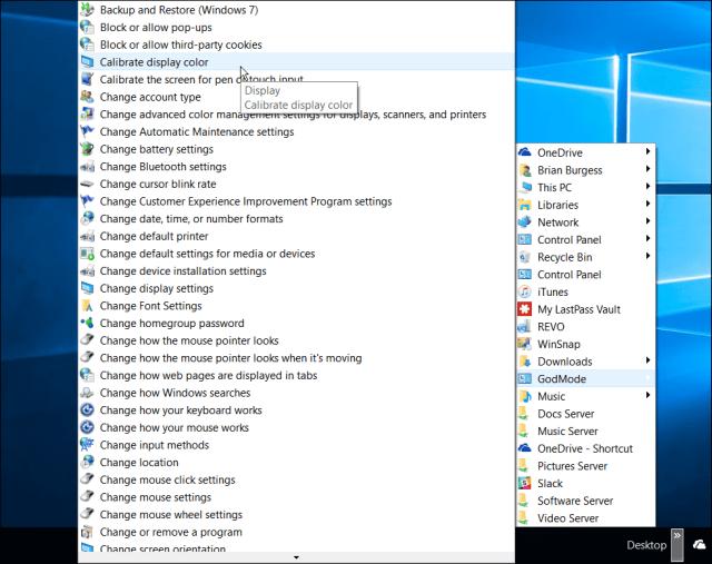 god mode Windows 10 Taskbar