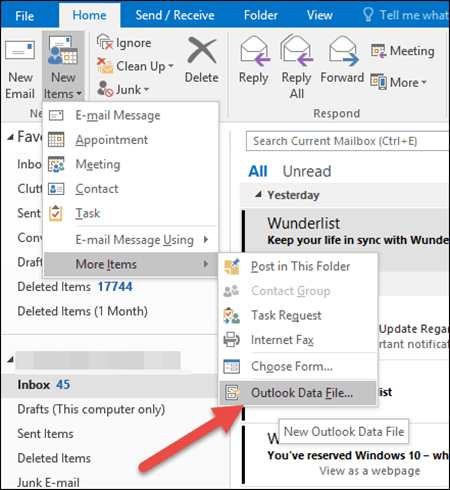 Outlook 2016 - Create Outlook Data File - PST
