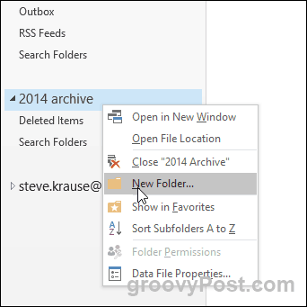 Outlook 2016 - Create new folder in PST file