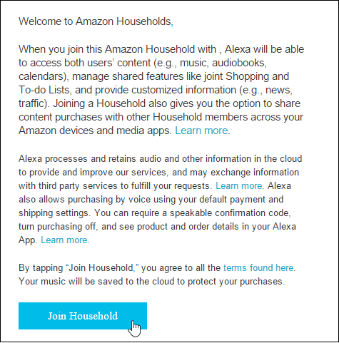 join amazon echo household