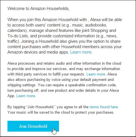 join amazon echo household