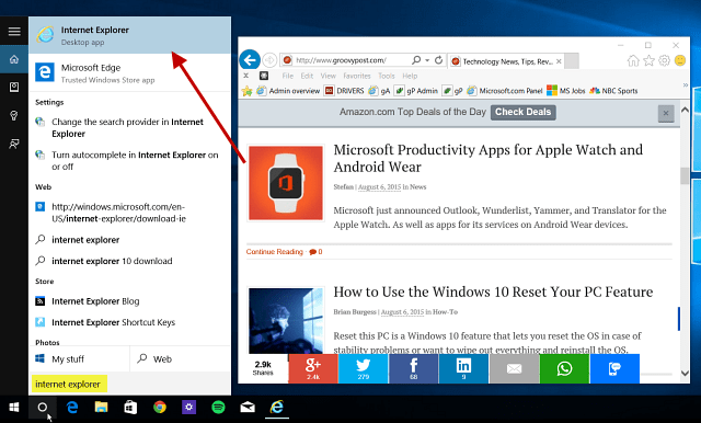 Windows 10 Tip: Find and Use Internet Explorer When Needed