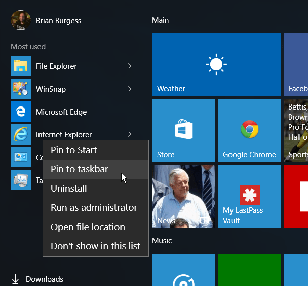 IE Start Menu Windows 10
