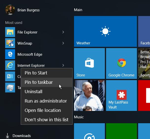 IE Start Menu Windows 10