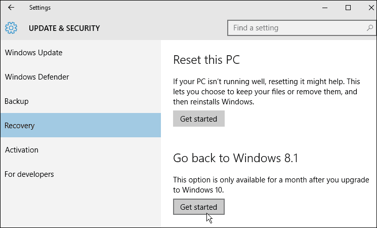 recovery Windows 10