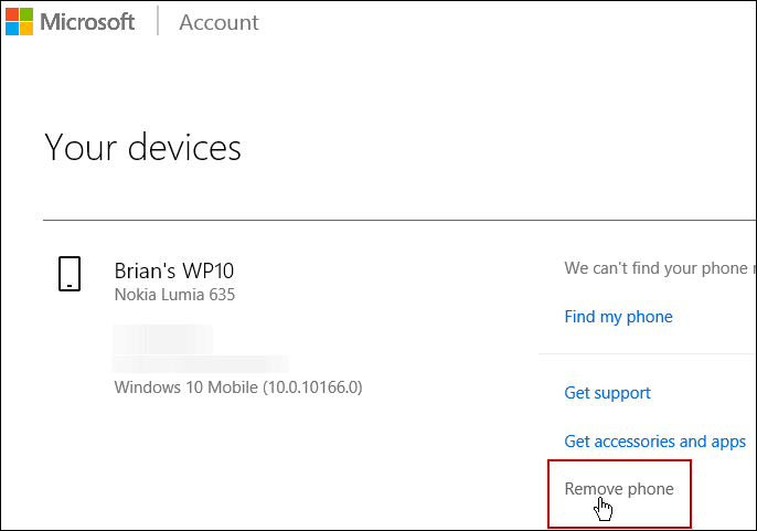 Remove Device Microsoft Account