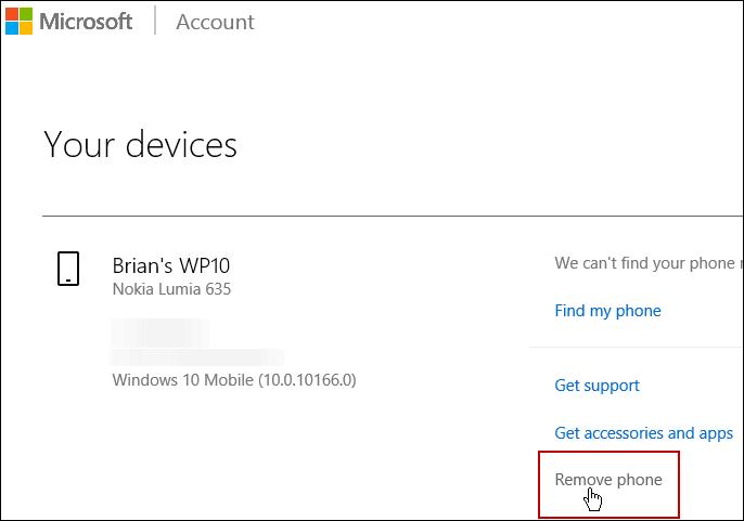 Remove Device Microsoft Account
