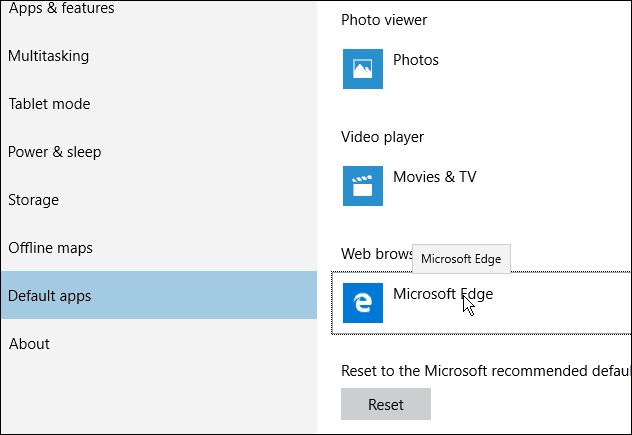 Edge Browser Default Windows 10