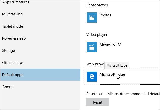 Edge Browser Default Windows 10