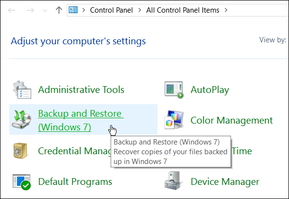 Control Panel Backup and Restore