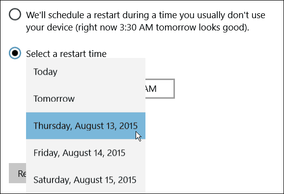 Schedule Restart day Windows 10