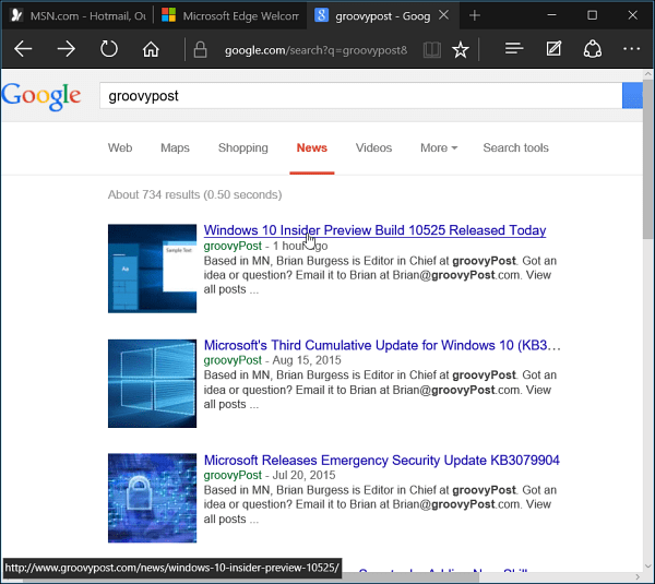 Edge Browser Windows 10