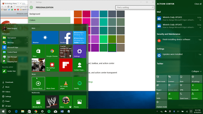 windows 10 desktop green