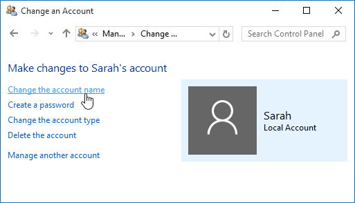 How to Rename a Windows 10 Local User Account