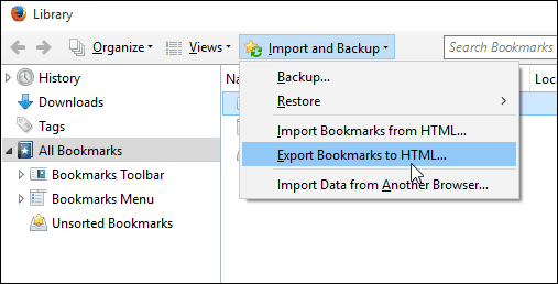 7export bookmarks Firefox