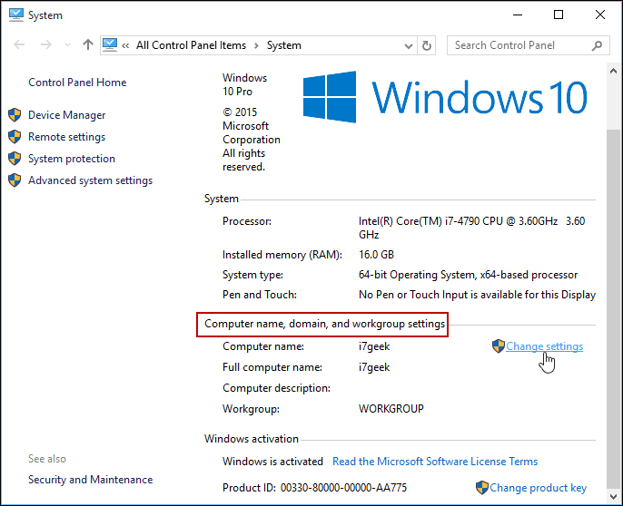 Change Settings Windows 10 Control Panel