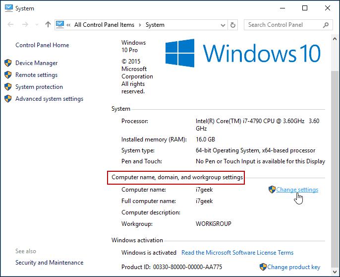 Change Settings Windows 10 Control Panel