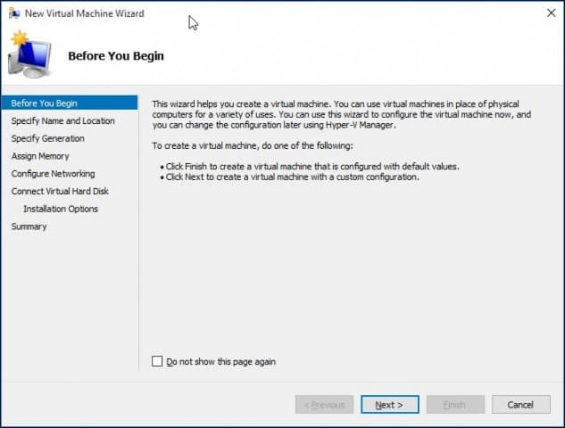 Setup a Virtual Machine with Windows 10 Hyper-V
