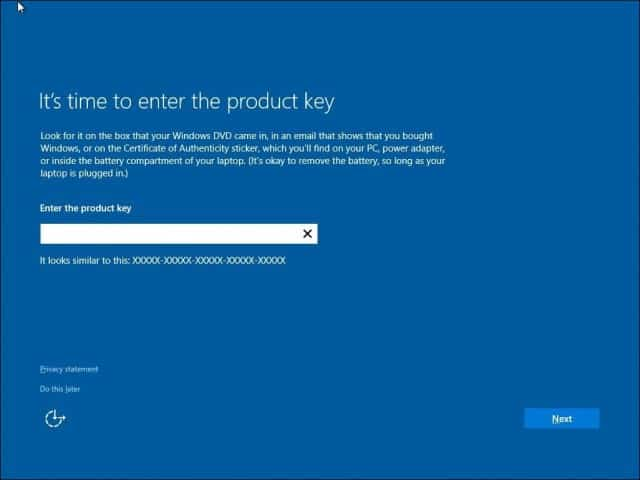 clean install windows 10 product key invalid