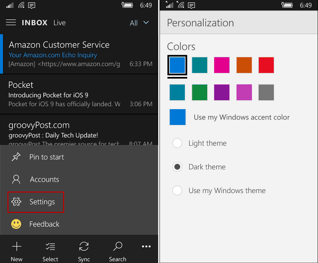 Personalization Windows 10 mobile apps