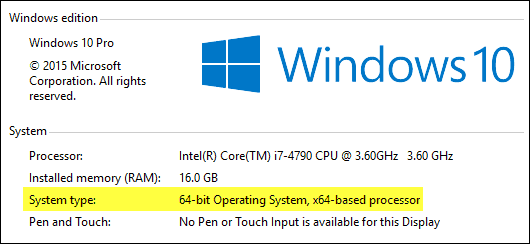 System Type WIndows 10