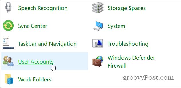 User Accounts Control Panel