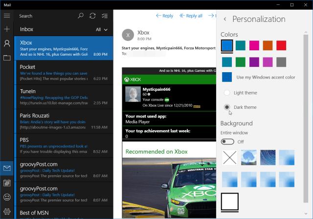 Windows 10 Mail Dark Theme