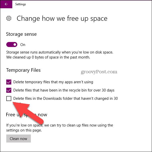 let storage sense delete downloads folder 30 days