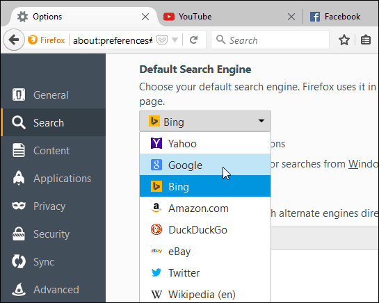 set Search Engine Firefox